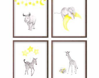 Elephant Nursery Decor, Watercolor Nursery Art in Yellow and Gray, Animal Paintings for Nursery, Animal Prints, Any Color - S452