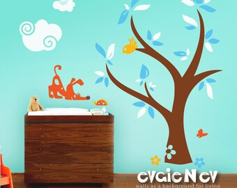 Curious Dog and Ladybug with Clouds and Tree Wall Decal