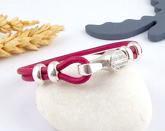 fuchsia and silver hook clasp round leather bracelet tutorial Kit two