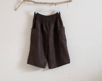 shirred waist linen straight leg gaucho made to order / plus size linen pants / petite linen pants / womens clothing / brown linen gaucho /