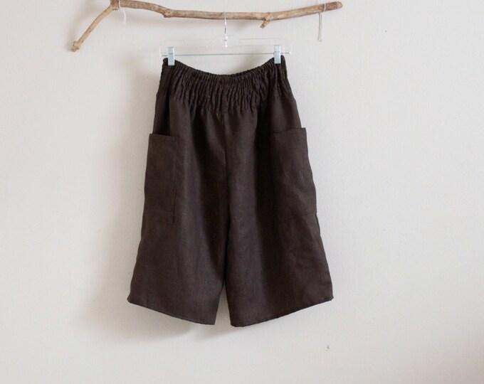 shirred waist linen straight leg gaucho made to order / plus size linen pants / petite linen pants / womens clothing / brown linen gaucho /
