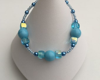 Hand Crafted Blue Beaded Bracelet.