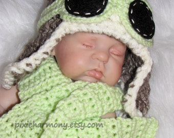 Baby Aviator Hat w Goggles and Scarf - Fly - Airplane Hat - Photo Prop - Newborn - Taupe and Light Green - Made to Order