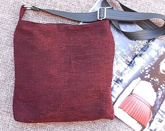 Dark Red upholstery fabric hobo slouch bucket shoulder crossbody handbag  bag