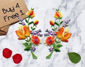 Flower Applique Flower Fabric Patches Iron On Patch Sew On Patch Patches Iron On