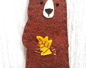 Felt Bear Ornament, Handmade Ornament, Wild Animal, Animal Ornament, Nursery Decoration, Baby Shower Gift, Custom Ornament
