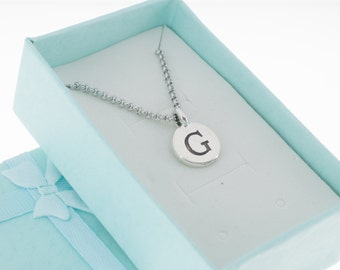 Antique Silver Pewter Initial Charm Necklace.  Initial Necklace. Initial Charm. Initial Jewelry. Letter G. necklace.