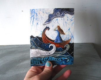 Art card, blank card, shellieartist, greeting card, She never turned her back on the sea,  illustrated blank card, ocean wave, glossy finish