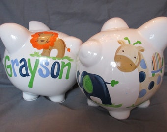 piggy bank hand painted personalized andrew animals