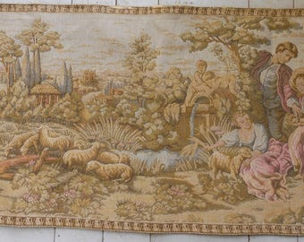 Vintage French Large Tapisserie Goblys Rural Countryside Scene Tapestry Wall Hanging.
