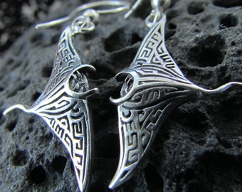 Manta Ray Earrings | Sterling Silver | Ocean | Beach | Gift | Jewelry | Handmade | Unique