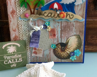 Handmade Scrapbook Mini Album 8X8 Beach Vacation Cruise