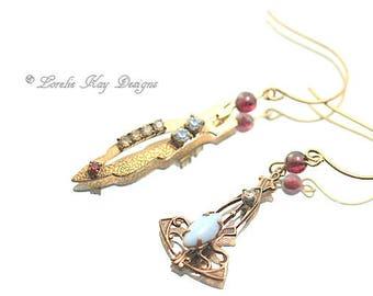Delicate Mismatched Dangle Earrings Vintage Art Deco Style Genuine Garnet Lightweight Vintage Brass Bridal Earrings