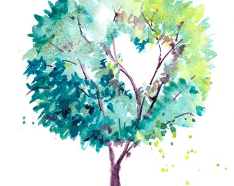 Tree painting, heart Art, Heart illustration, original watercolour painting, New Home art, Love, wedding gift, anniversary gift