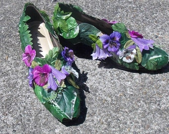 Leafy Green and Purple Pansy Flower Fairy Shoes, Fairy Pumps, Cosplay Shoes, Wedding Flower Footwear, Bridal Slippers, Elf Slippers