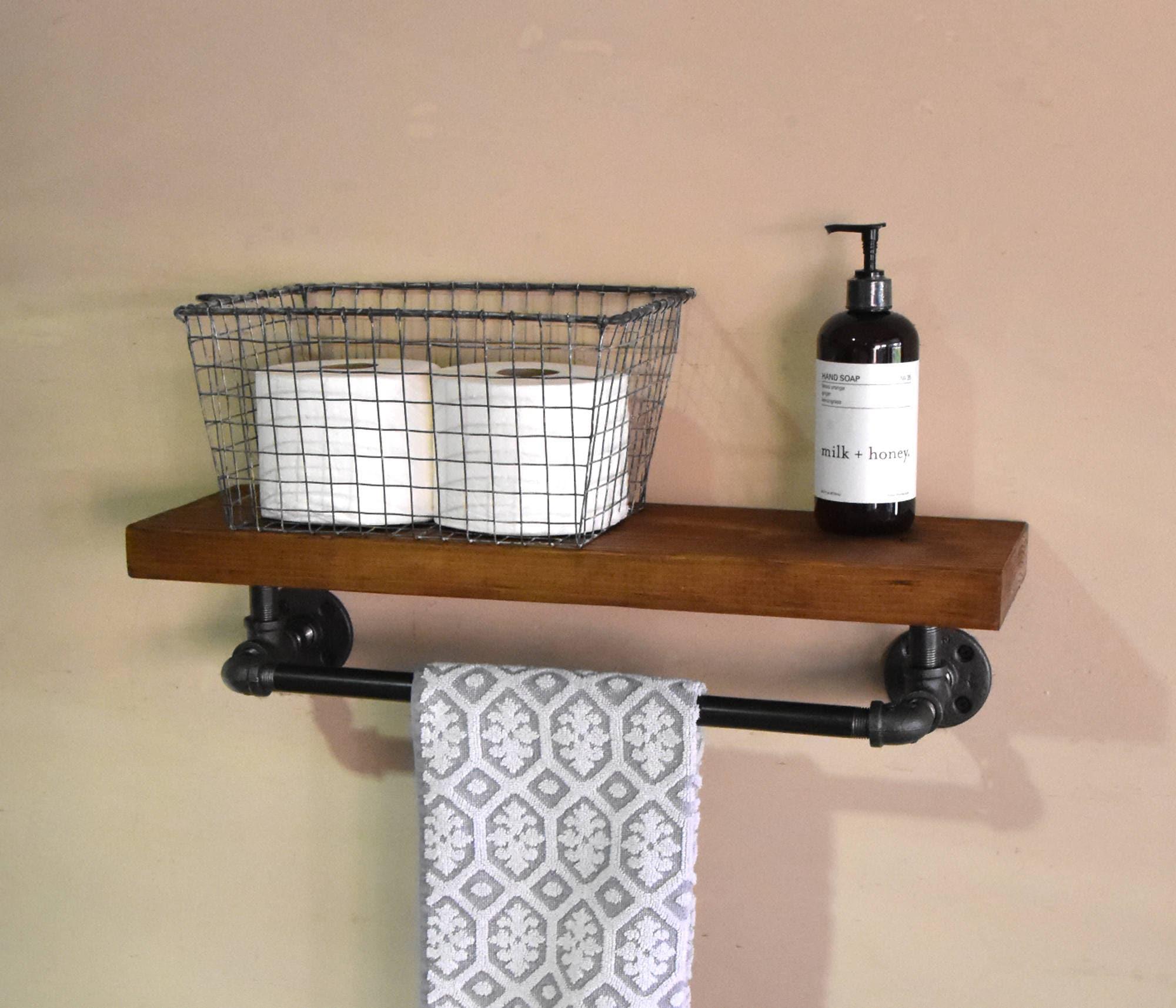 Bathroom Floating Shelve & Towel Rack Industrial Floating