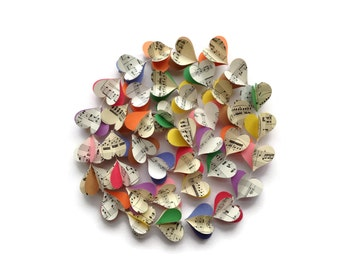 Colorful Notes Heart Garland - Case Pack of 10 - Vertical Multi Colored - Musical Notes - Vintage Sheet Music Paper Heart - Pride Decoration