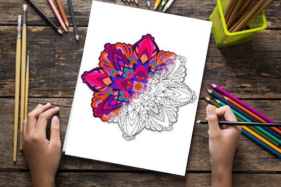 Mandala Coloring Pages Adults Printable : Mandala coloring pages for adults digital doodles digital