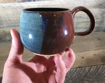 Blue Brown Ceramic Mug / teacup / wheel thrown mug / handmade mug - READY TO SHIP