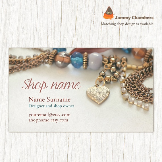 Business card template business cards jewelry business for Handmade jewelry business cards