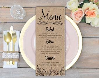 Rustic wedding menu cards Rehearsal dinner menu Rustic wedding table decor Reception menu DIY table card Printable Rustic menu Kraft Paper