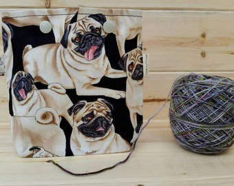 Pugs Dog Ball Sack for up to DK Weight -- Yarn Holder for Inside Project Bags Handmade