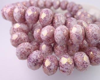 Czech glass beads-round elle beads-9x6mm-lilac white pink golden Sheen-10 PCs