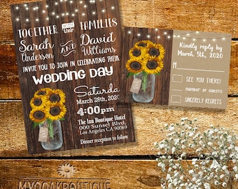 Country Wedding invitation Rustic chic mason jar wood sunflowers flowers digital printable Suite Invitation RSVP you print 14040