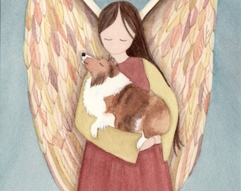 Shetland Sheepdog (sheltie) with Angel / Lynch signed folk art print