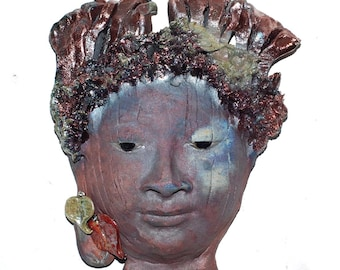 Buddha Face Wall Hanging in Raku Ceramcis