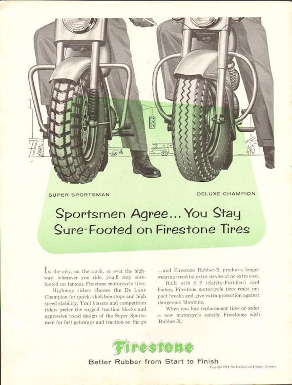1958 Firestone Motorcycle Racing Tires Ad #5809amot12