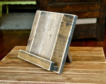 Wood Tablet Stand or Cookbook Stand for the Kitchen or Office - Distressed - 3 SIZES AVAILABLE - iPad Stand