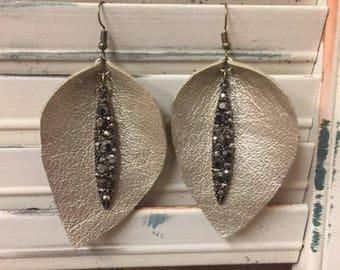 Metallic Teardrop Leather Earrings