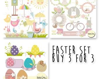 Buy 3 for 3: Easter set- birds clipart, easter clipart, eggs clipart