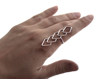 Geometric Statement Ring - Sterling Silver