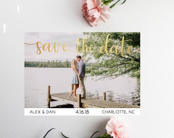 PRINTED Gold Foil Save The Date, Custom Photo Save The Date, Save The Dates, Gold Foil, Wedding Announcement
