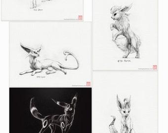 Pokémon Eeveelutions - set of nine prints (pokemon drawing, art, artwork, gaming, nintendo, eevee)