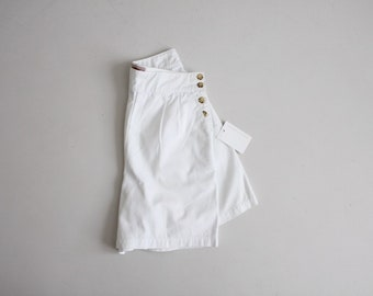 side button shorts | high waist shorts | white shorts