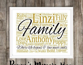 Personalised Rectangle Word Art Keepsake Any Occasion Family, Anniversary, Retirement, Wedding + More Gift A4 Print Only FREE UK P+P