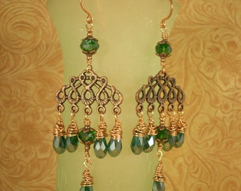Gypsy Cowgirl Earrings - Copper Filigree with Emerald Green Crystals
