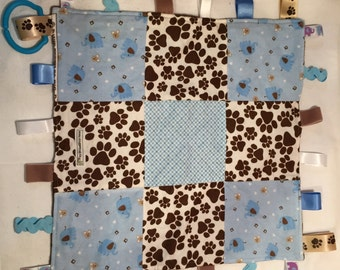 Chocolate and Blueberry Elephants and Teddies Taggie Blankie