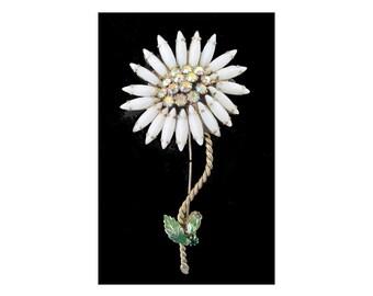 Flower Pin * MILK GLASS * Navette Petals * Rhinestones * Statement Brooch