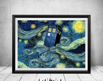 Tardis Starry Night Print, Doctor Who Print, Doctor Who Poster, Doctor Who Art, Doctor Who Wall Art, Dr Who Illustration, Tardis Wall Art