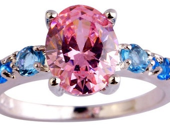 Pink and blue topaz sterling silver ring