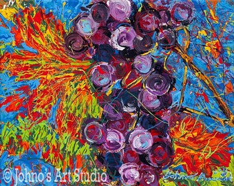 Grape wall art, Grape vines, purple grapes, fruit art, kitchen art, dinig room art,  print by Johno Prascak of Pittsburgh