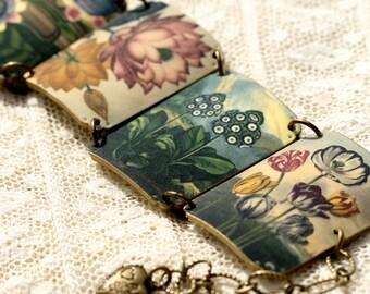 Flowers Bracelet - Flowers - Flower Jewelry - Spring Jewelry - Shrink Plastic - Garden Bracelet - Floral Images - Adjustable Bracelet