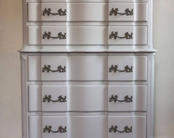 SOLD to M Dabbs! French Provincial Dresser, Shabby Chic Dresser, Antique Dresser, Vintage Highboy, Chest of Drawers Free NYC Delivery