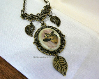 Hand Painted Cameo German Shepherd Dog Pendant Necklace Jewelry Charms SylCameoJewelsStore