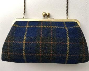 Clutch bag/purse handmade from blue plaid Harris tweed