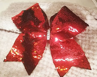 Red and black reversible sequin cheer bow!
